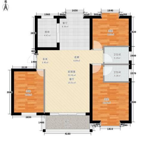 大竹林商业中心3室0厅2卫1厨92.00㎡户型图