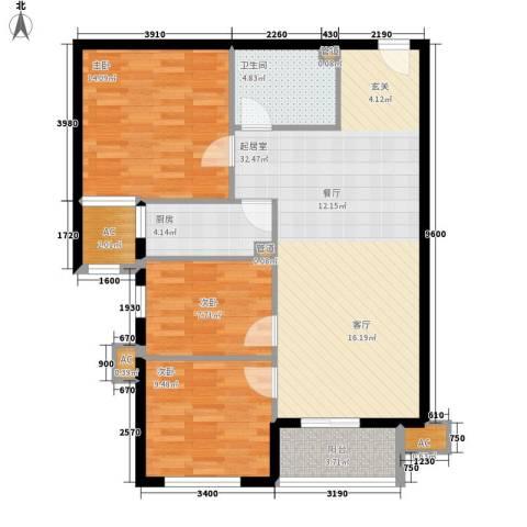 大业时代广场唐山义乌国际商贸城3室0厅1卫1厨112.00㎡户型图