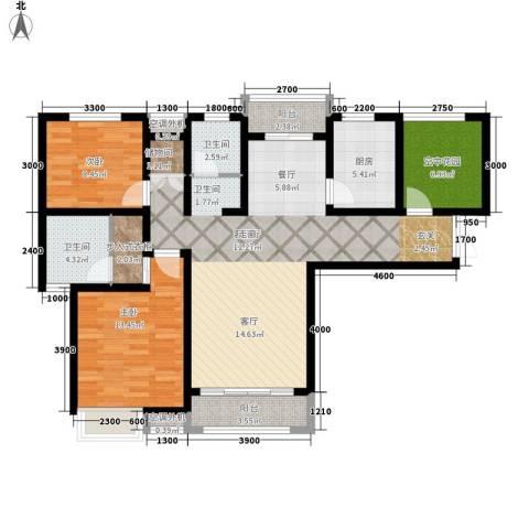 冠景凯旋门2室1厅2卫1厨120.00㎡户型图