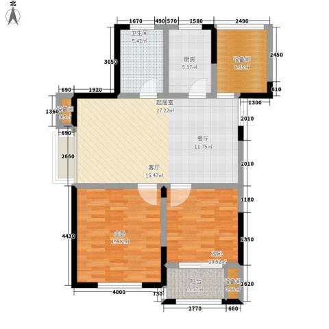 玫瑰恬园2室0厅1卫1厨87.00㎡户型图