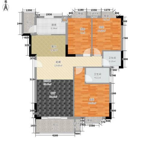 保利紫薇花园3室0厅2卫1厨111.00㎡户型图