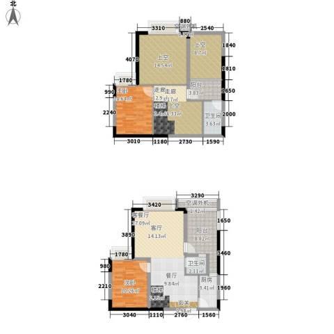 叠彩城一期2室1厅2卫1厨107.71㎡户型图