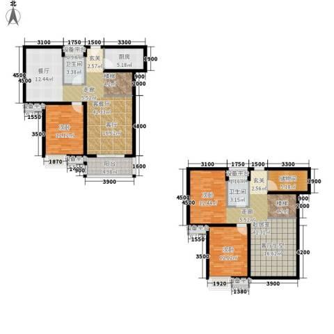 江林新城2室1厅2卫1厨172.00㎡户型图