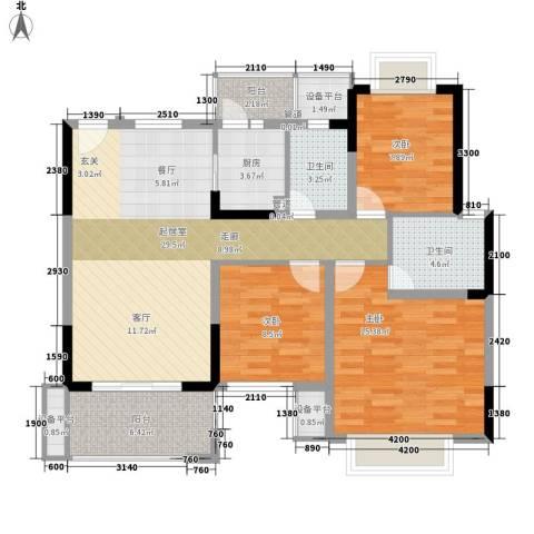 麻涌私宅3室0厅2卫1厨122.00㎡户型图