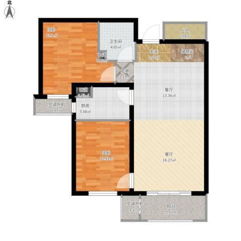 哈尔滨万达城2室1厅1卫1厨114.00㎡户型图