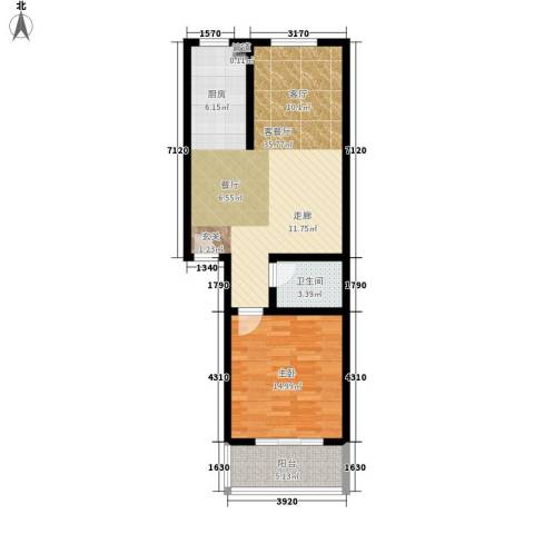 戴河新城1室1厅1卫0厨68.00㎡户型图