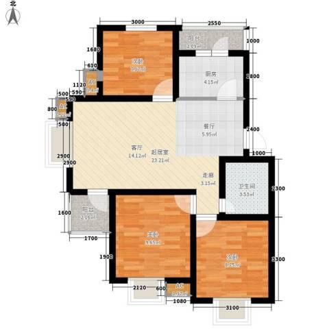 万科水晶城揽星园3室0厅1卫1厨91.00㎡户型图