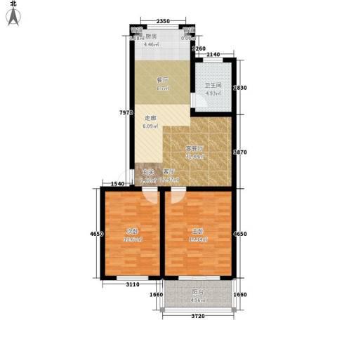 戴河新城2室1厅1卫0厨79.00㎡户型图