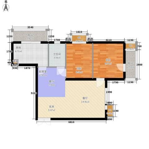 文苑凤凰城2室0厅1卫1厨92.00㎡户型图
