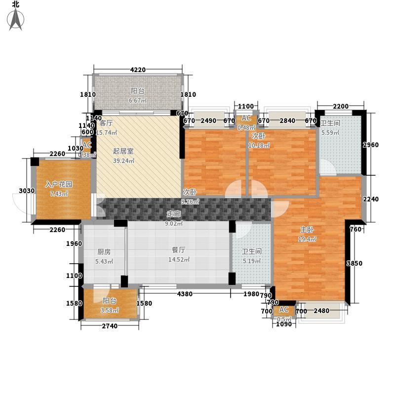 香市1号124.00㎡3-4栋标准层1单元面积12400m户型