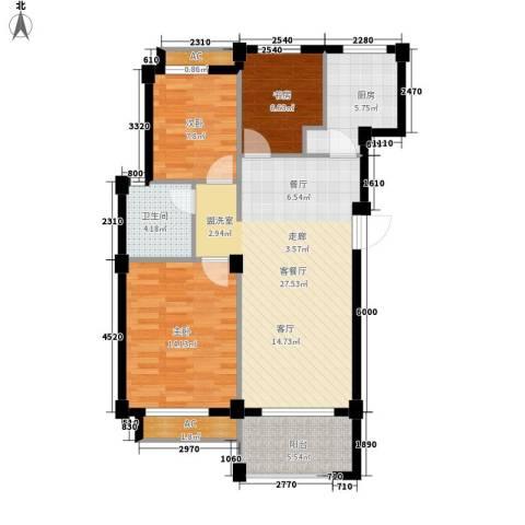 维科城市桃源3室1厅1卫1厨85.00㎡户型图