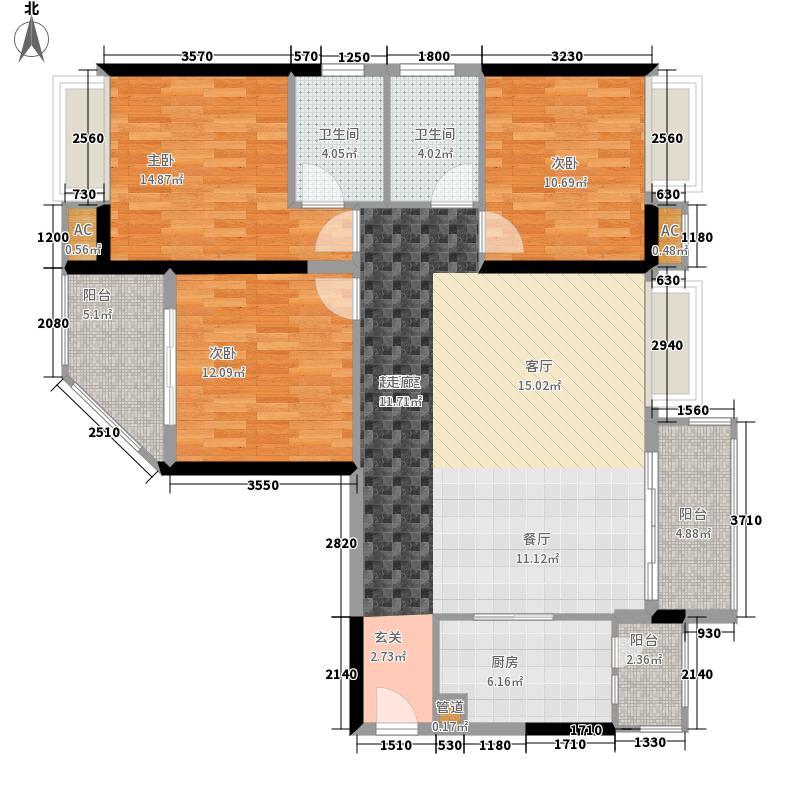 香市1号124.00㎡6-11栋标准层01、面积12400m户型