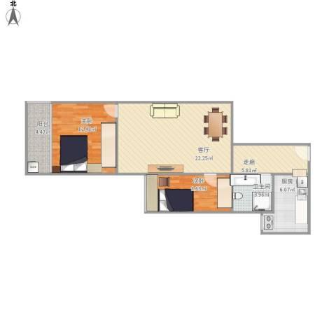 华天国际广场2室1厅1卫1厨86.00㎡户型图