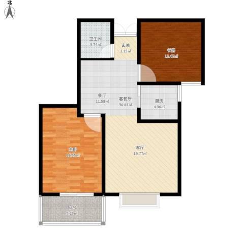 水印城2室1厅1卫1厨102.00㎡户型图