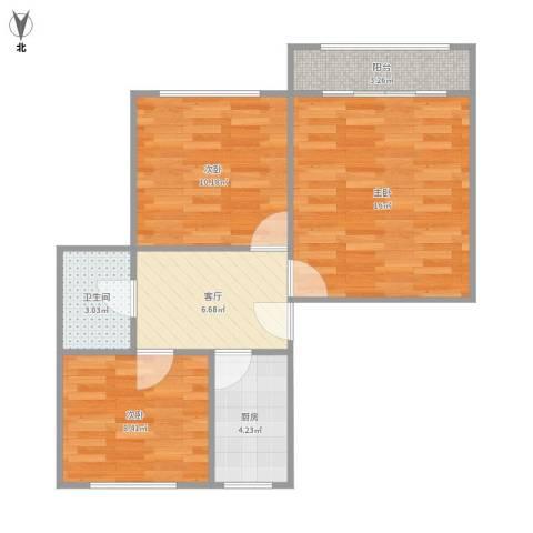 水霞小区3室1厅1卫1厨71.00㎡户型图