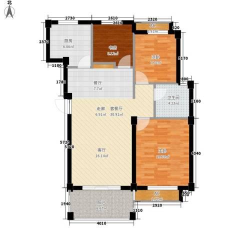 维科城市桃源3室1厅1卫1厨89.00㎡户型图