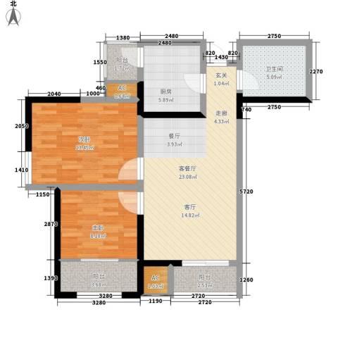 上榀坐2室1厅1卫1厨95.00㎡户型图