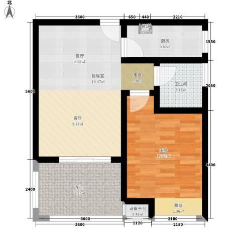 盈滨海湾雨林1室0厅1卫1厨64.00㎡户型图
