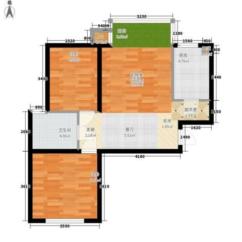74号小区2室0厅1卫1厨56.74㎡户型图