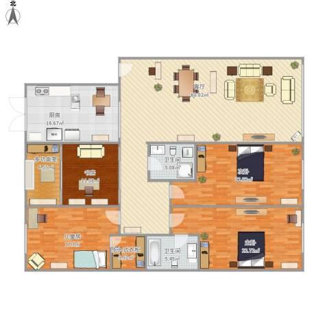 红旗新区4室1厅2卫1厨227.00㎡户型图