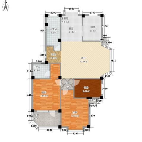 依海嘉园3室1厅2卫1厨143.00㎡户型图