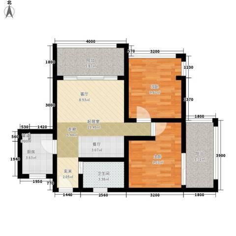 盈滨海湾雨林2室0厅1卫1厨67.00㎡户型图
