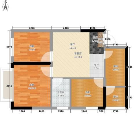 星东・上海花园3室1厅1卫1厨56.84㎡户型图
