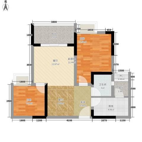 贵博江上明珠2室0厅1卫1厨84.00㎡户型图
