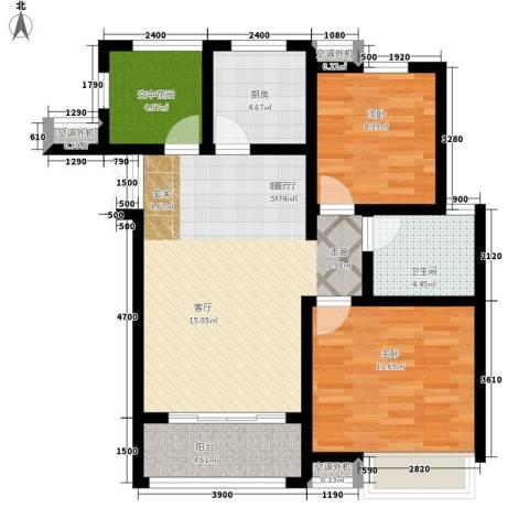 冠景凯旋门2室1厅1卫1厨93.00㎡户型图