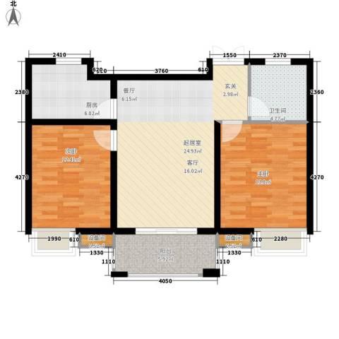 玫瑰恬园2室0厅1卫1厨95.00㎡户型图