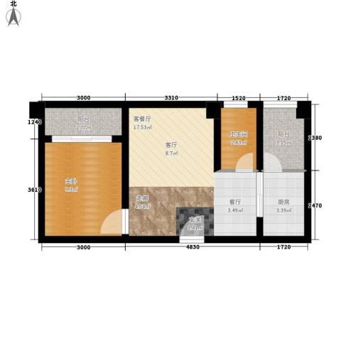 星东・上海花园1室1厅1卫1厨46.35㎡户型图