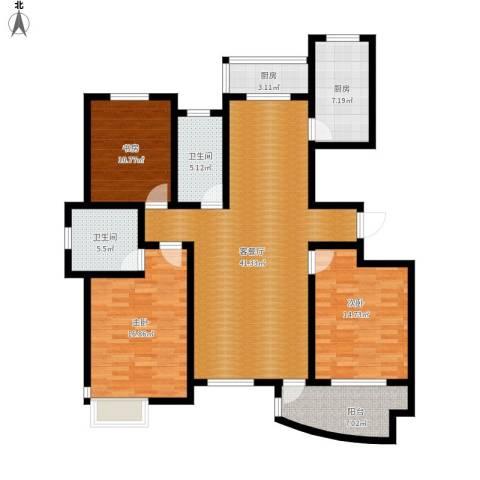 城市之星3室1厅2卫2厨160.00㎡户型图