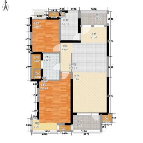 万科水晶城2室0厅1卫1厨102.00㎡户型图
