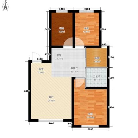 六合・龙城国际3室1厅1卫1厨98.00㎡户型图