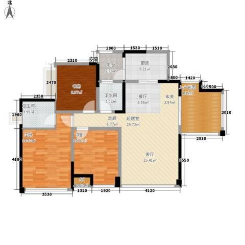 升伟新意境3室0厅2卫1厨98.00㎡户型图