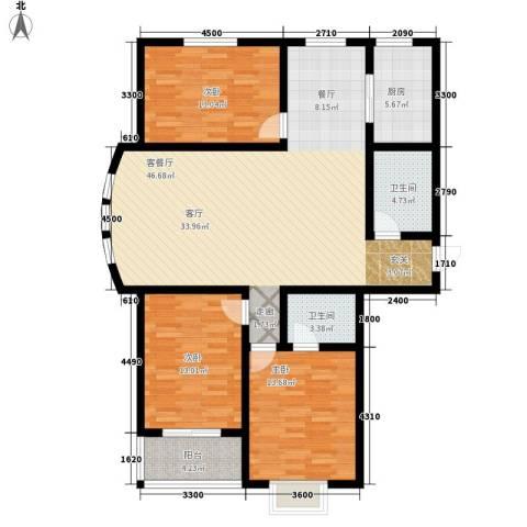 水木清华苑3室1厅2卫1厨147.00㎡户型图