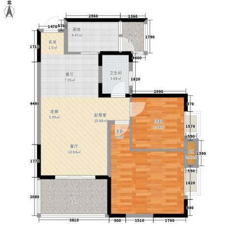 升伟新意境2室0厅1卫1厨92.00㎡户型图