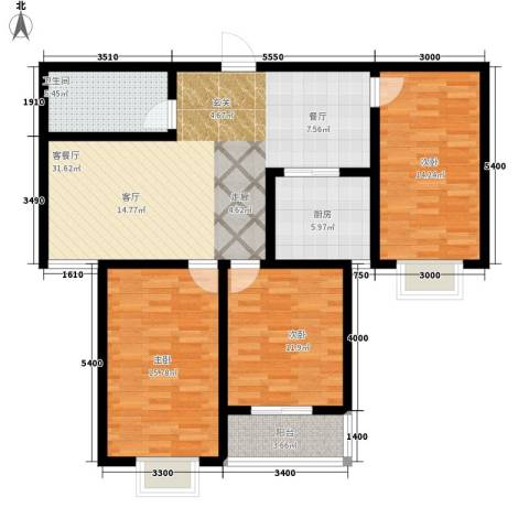 水木清华苑3室1厅1卫1厨125.00㎡户型图