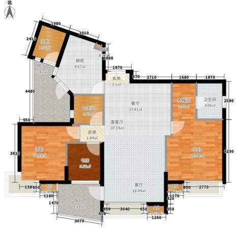 广州雅居乐花园・天域4室1厅2卫1厨125.00㎡户型图
