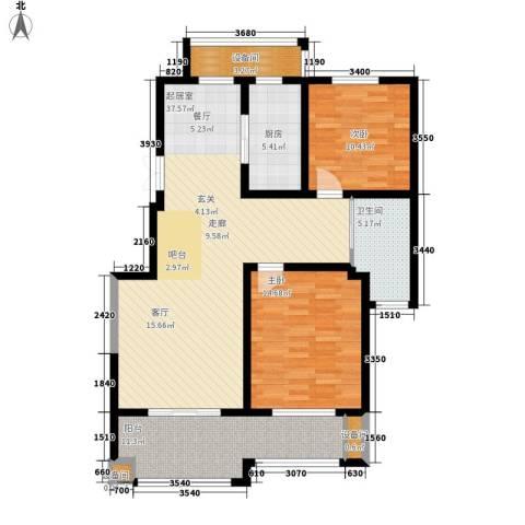 玫瑰恬园2室0厅1卫1厨103.00㎡户型图