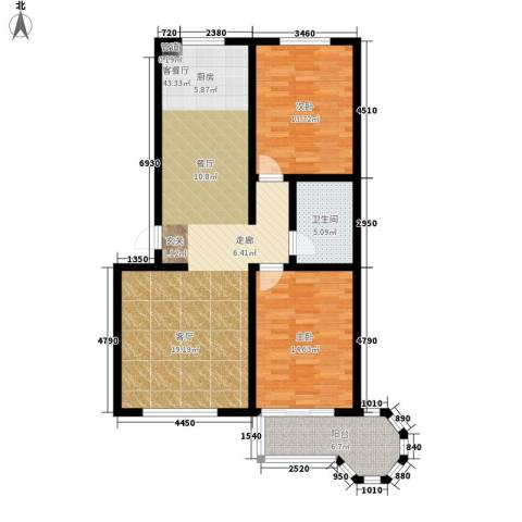 戴河新城2室1厅1卫0厨95.00㎡户型图
