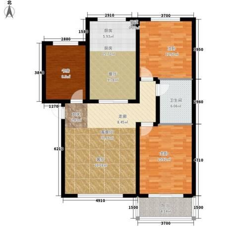 戴河新城3室1厅1卫1厨108.00㎡户型图