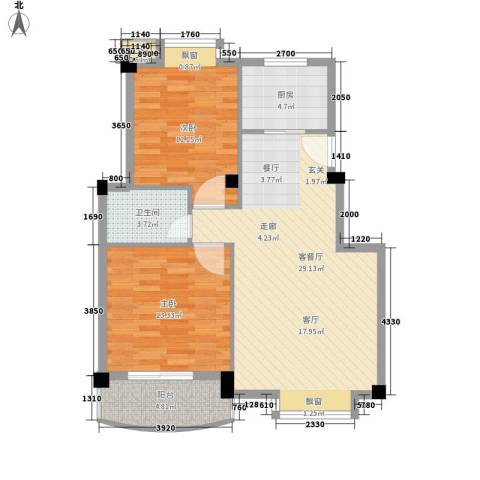 金运花园2室1厅1卫1厨90.00㎡户型图