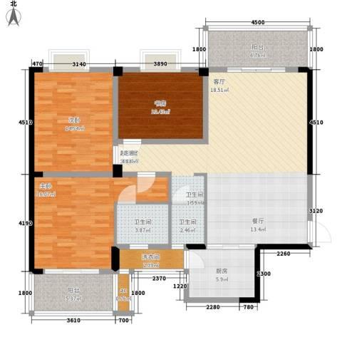 冠豪星城雅郡3室0厅2卫1厨177.00㎡户型图