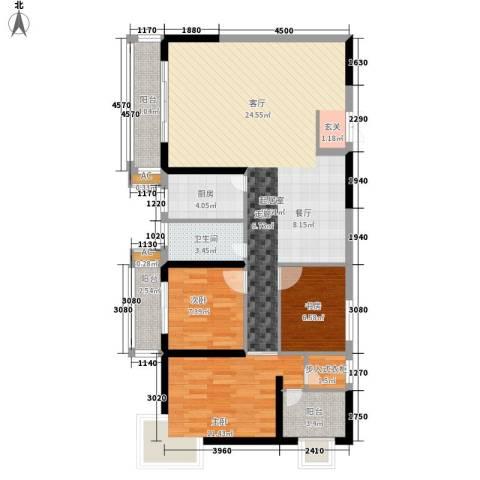 泰德紫玉公馆3室0厅1卫1厨111.00㎡户型图