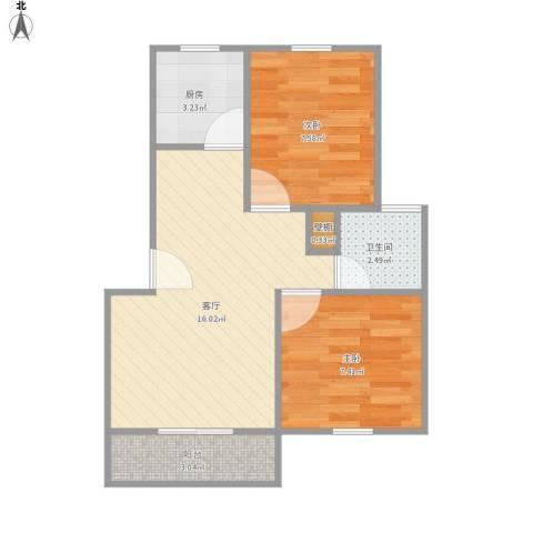 欣晟家园2室1厅1卫1厨55.00㎡户型图