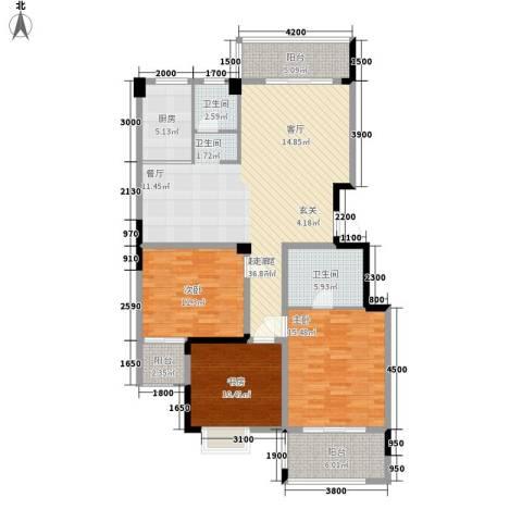 冠豪星城雅郡3室0厅2卫1厨148.00㎡户型图