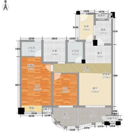 蔚兰星城2室0厅2卫1厨117.00㎡户型图