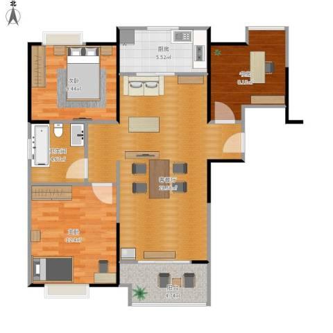 祥源城3室1厅1卫1厨99.00㎡户型图