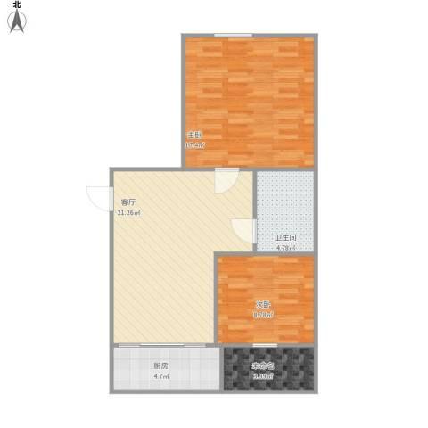 柏林四季2室1厅1卫1厨82.00㎡户型图